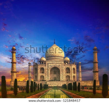Taj Mahal India Sunset - stock photo