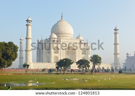 Taj Mahal int the morning fog. Agra. India. - stock photo