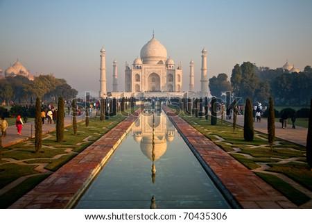 Taj Mahal landscape reflected in pond - stock photo
