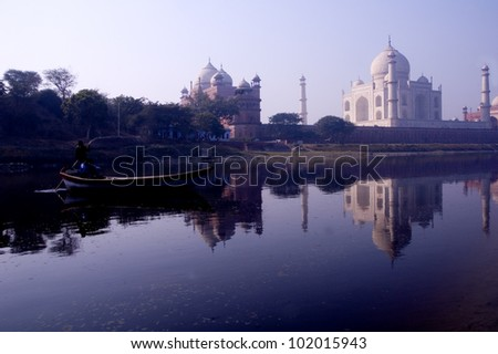Taj Mahal seen from the shores of the Yamuna River - stock photo