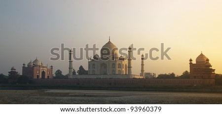 Taj Mahal sunset view - Agra, India - stock photo