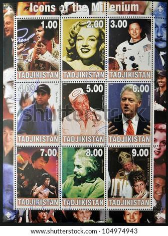 TAJIKISTAN - CIRCA 2000: Collection stamps dedicated to icons of the millennium, circa 2000 - stock photo