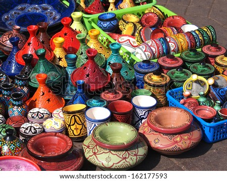 tajines and pots  made of clay on market in Marocco        - stock photo