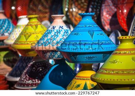 Tajines in the market, Marrakesh,Morocco - stock photo