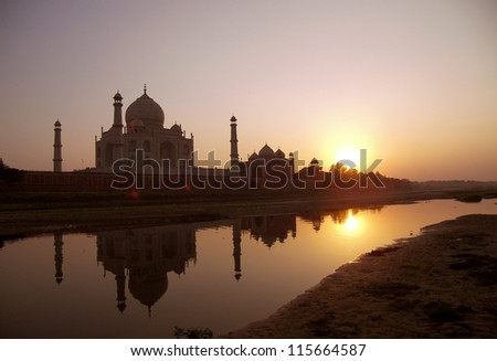 TajMahal, Agra, India. picture taken in sunset scene on other side of river. - stock photo