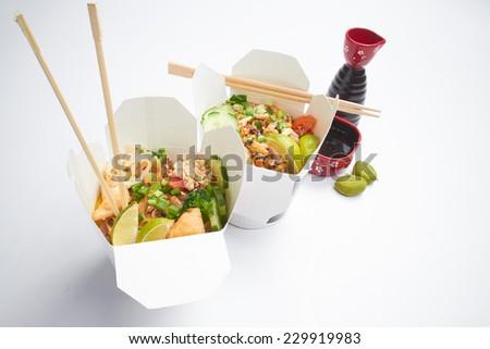 Take away noodles - stock photo