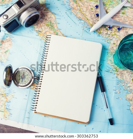 Take me to the trip! planning items. Instagram style photo. Leave your baggage behind - stock photo