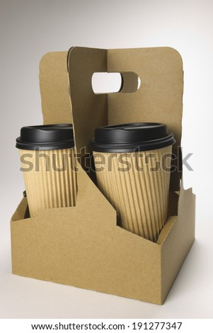 Take-out coffee in thermo cup. - stock photo