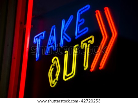 Take Out Neon Sign - stock photo