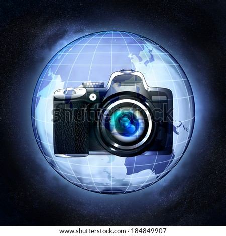 take pictures of Asia countries at cosmic view concept illustration - stock photo