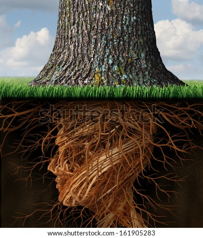 Take root and taking roots business and health care concept as underground tree roots shaped like a human head as a tall tree grows above as an icon of growth and success in health care and wealth. - stock photo