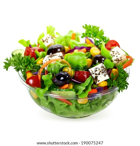 Takeaway salad on white background - stock photo