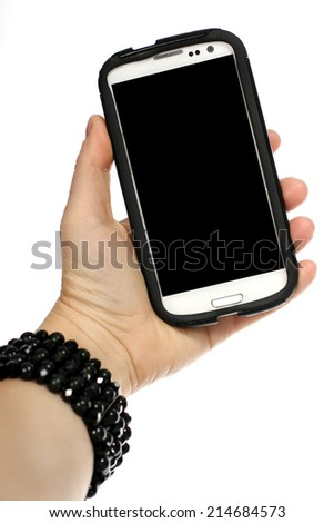 taking a selfie on a white background - stock photo