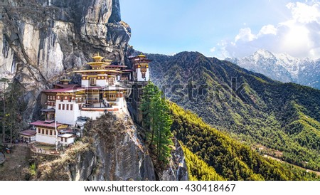 Taktshang Goemba or Tiger's nest Temple or Tiger's nest monastery the beautiful buddhist temple.The most sacred place in Bhutan is located on the high cliff mountain with sky of Paro valley, Bhutan. - stock photo