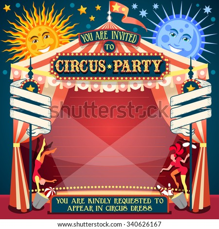 Tale of Tales You are Invited to The Court of Miracles. Circus Carnival Colorful Retro Vintage Template for your Happy Crazy Party JPG JPEG Image Drawing Object Picture Graphic Art - stock photo