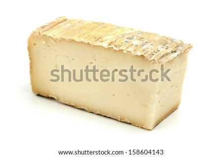 Taleggio cheese on a white background - stock photo
