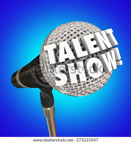 Talent Show words in 3d letters on a microphone to illustrate or advertise a singing competition or event for performance - stock photo