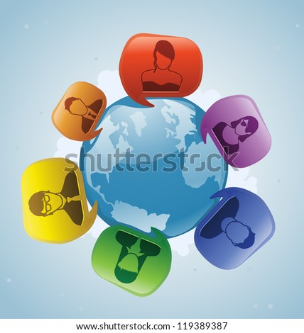 Talk bubbles of people talking from around the world. - stock photo