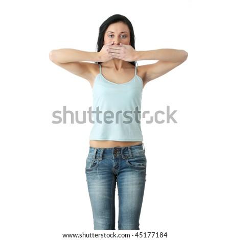 Talk no evil , isolated on white background - stock photo
