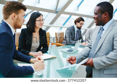 Talking at conference - stock photo