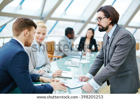 Talking at meeting - stock photo