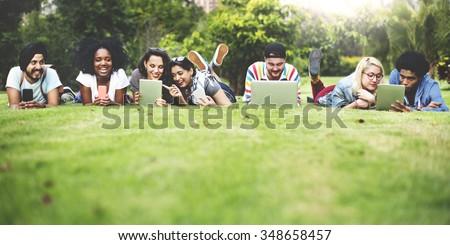 Talking Brainstorming Communication Friends Concept - stock photo