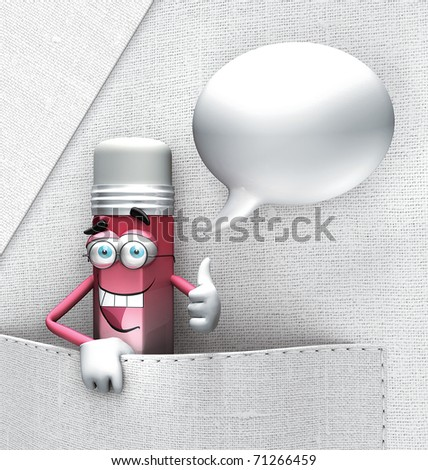 Talking pencil in his pocket robe doctor - stock photo