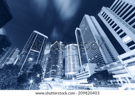 tall building night scenery in hongkong - stock photo