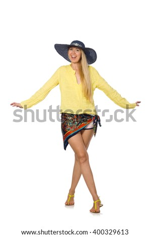 Tall caucasian model wearing hat isolated on white - stock photo