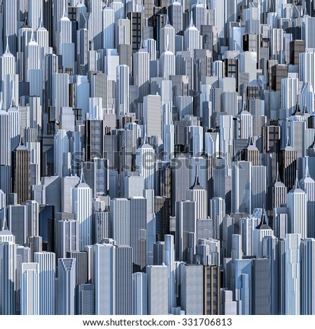 Tall city background / 3D render of daytime modern city filling image - stock photo