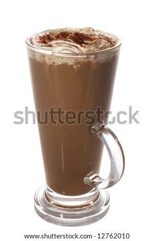 tall cup of fresh coffee latte with whipped cream, isolated on white - stock photo