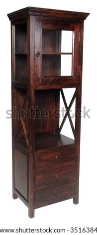 Tall cupboard with glass door and drawers. Taken on clean white background - stock photo