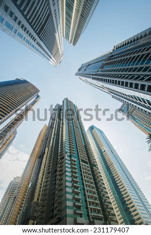 Tall Dubai Marina skyscrapers in UAE - stock photo