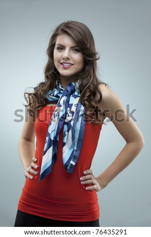 tall girl fashion posing red blouse scarf - stock photo