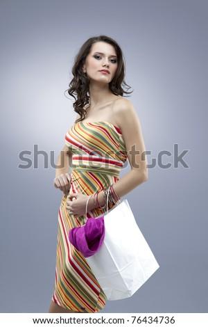tall girl seductive stripes dress colors - stock photo