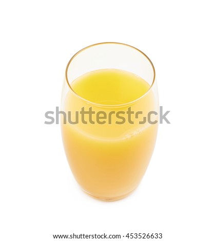 Tall glass filled with orange juice isolated over the white background - stock photo