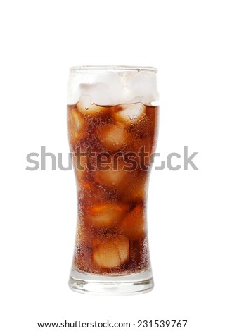 tall glass with cola drink with chunks of ice isolated on white background with clipping path. - stock photo