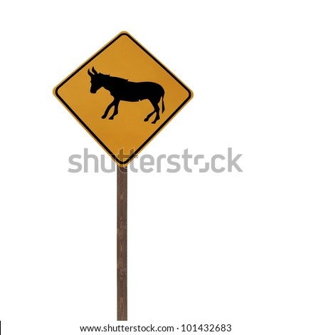 Tall isolated Jackass and Burro caution sign wooden post. - stock photo