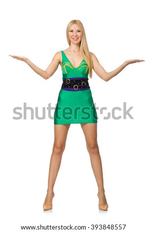 Tall model in mini green dress isolated on white - stock photo