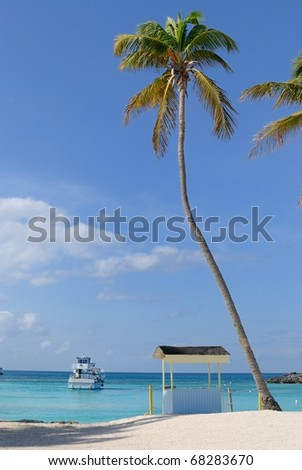 tall palms and cabana on a tropical beach in Great Stirrup Cay, Bahamas. - stock photo