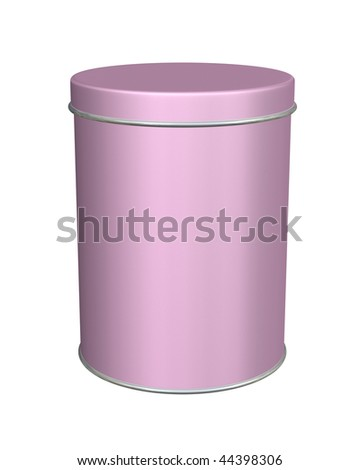 Tall pink metal round tin container is blank isolated on white. - stock photo
