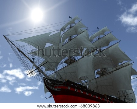 tall ship with sails low angle shot - stock photo