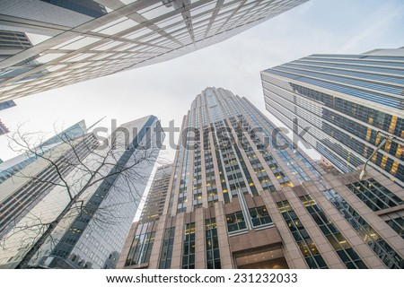 Tall skyscrapers shot with perspective - stock photo