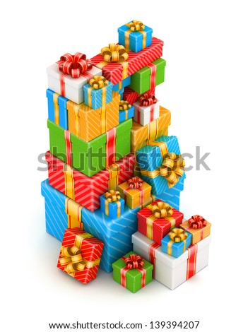 Tall stack of colored gift boxes on white background - stock photo