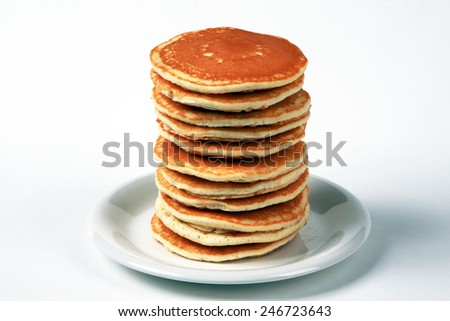 Tall stack of pancakes - stock photo