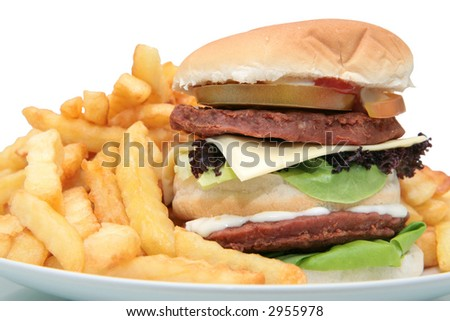 Tall tower burger with a plate full of fries - stock photo