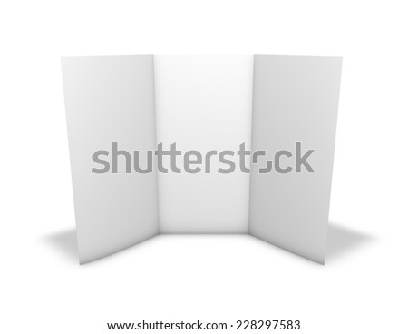 Tall triple leaflet, blank page, standing on floor. Isolated on white background. - stock photo