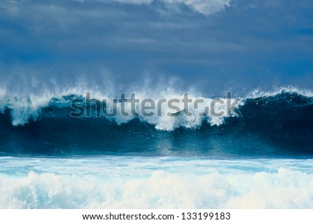 Tall waves on the surface of the ocean - stock photo