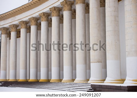 tall white columns of the building - stock photo
