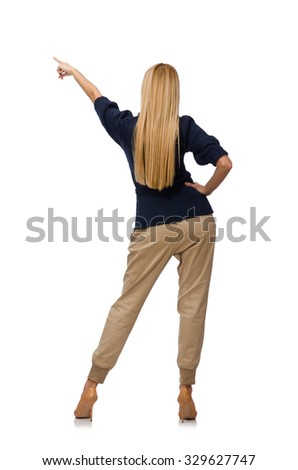 Tall woman in blue pullover isolated on white - stock photo